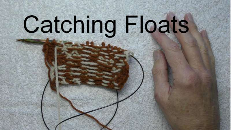 Floats on back of knitted rectangle
