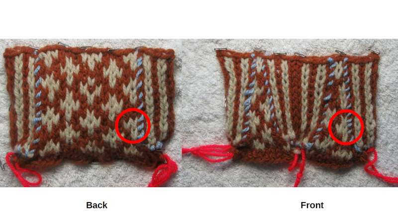 Difference between stitches on front and back.