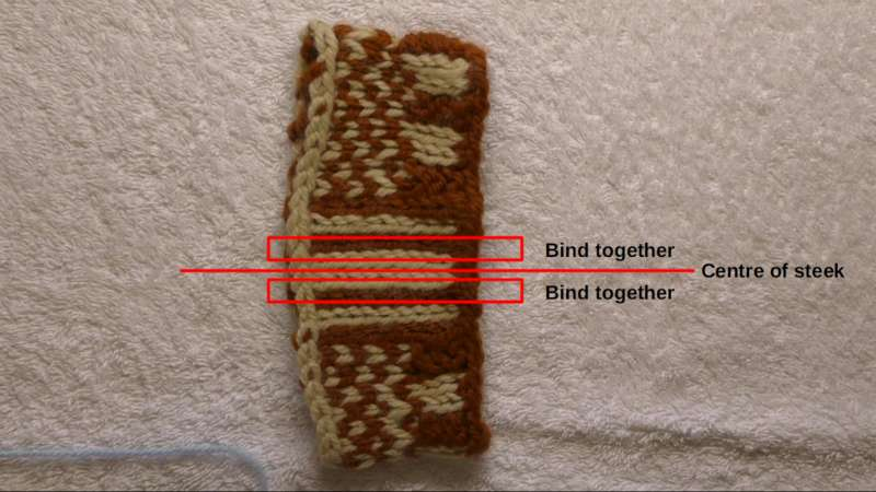 Swatch showing a steek, its centre line, and the columns of stitches to be bound together.
