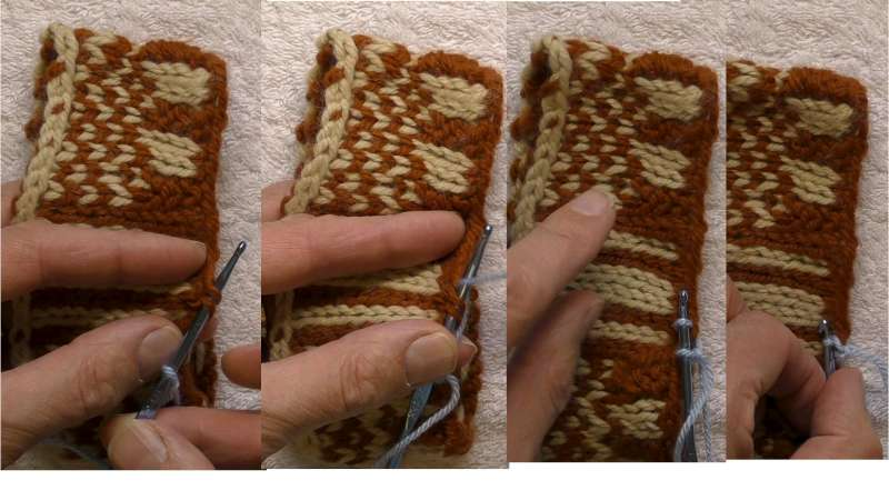 Swatch showing how crochet stitches are used to bind the cast-on edge.