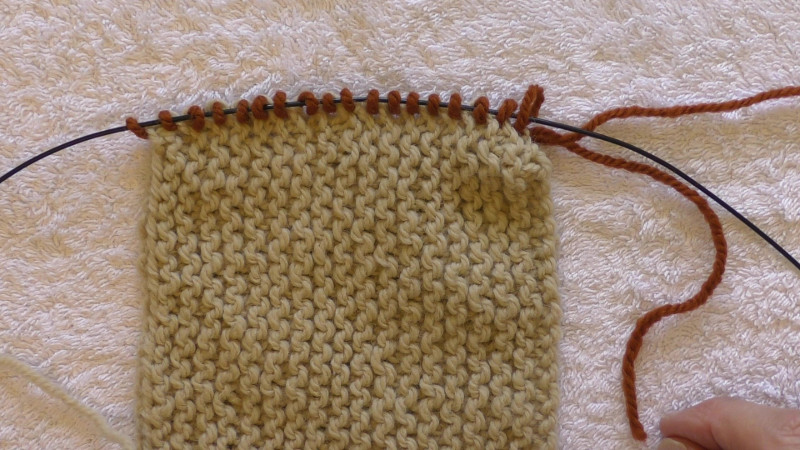 Light coloured garter stitch fabric with a row of darker new stitches picked up on its edge.