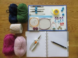 Display of the materials and tools needed for the stranded colour work workshop