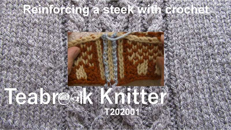 Title for T202001 - Reinforcig a steek with crochet. Shows a steek with an even number of stitches after having been reinforced with crochet chains.