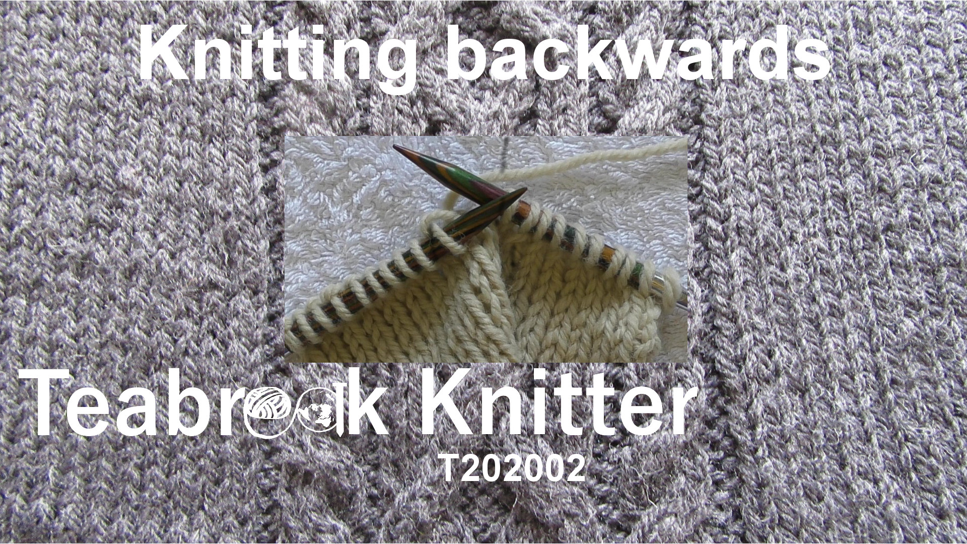 Title slide for T-torial showing swatch knit half way across a row with the yarn coming from the right hand needle.