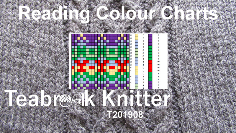 Knitting chart with yarn colour represented by a coloured box. This is shown against a knitted cable background with the title of the T-Torial: Reading COloour Charts (T201908) by TeabreakKnitter.
