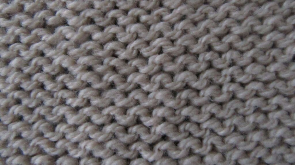A swatch showing reverse stocking stitch.
