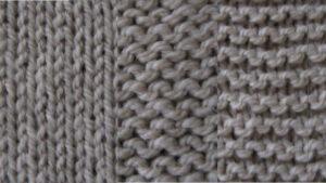 Montage of stocking stitch, reverse stocking stitch and garter stitch swatches.